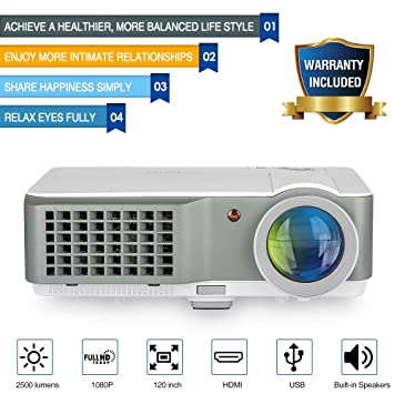 Proyector de películas LED Home Cinema 2500 lúmenes TFT LCD HD ...