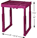 """Tools for School Locker Shelf. Adjustable Width 8"""" - 12 1/2"""" and Height 9 3/4"""" - 14"""". Stackable and Heavy Duty. Ideal for School, Work and Gym Lockers (Magenta, Single)"""