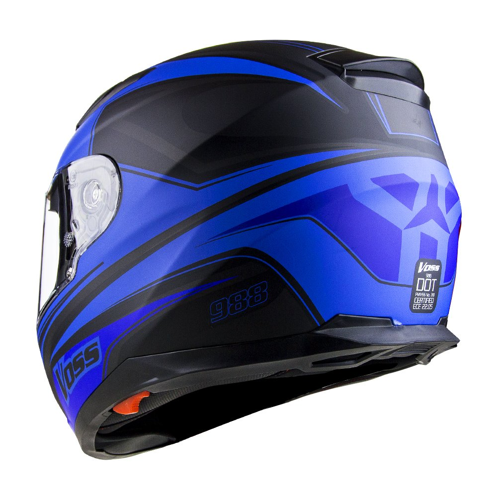 Amazon.com: Voss 988 Synchro Graphic DOT Full Face Helmet with Integrated Sun Lens - XL - Matte Blue Synchro: Automotive