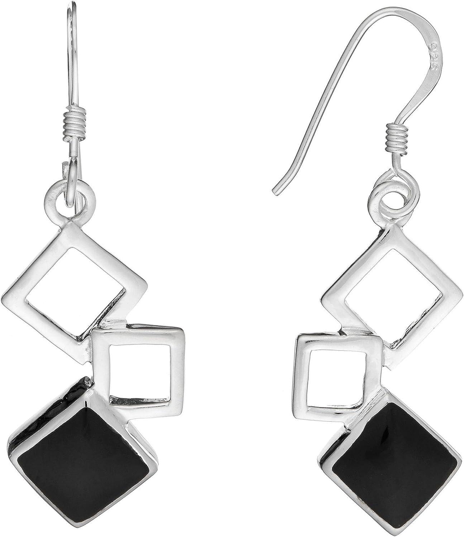 Silverly Pendientes en Plata de Ley .925 Largo Piedra Simulada Ónix Negra