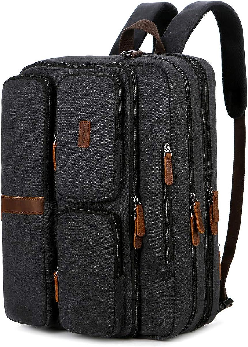 BAOSHA Stylish Convertible Canvas Briefcase Backpack Large 17inch Laptop Messenger Bag Multi-Functional Travel Rucksack BC-11