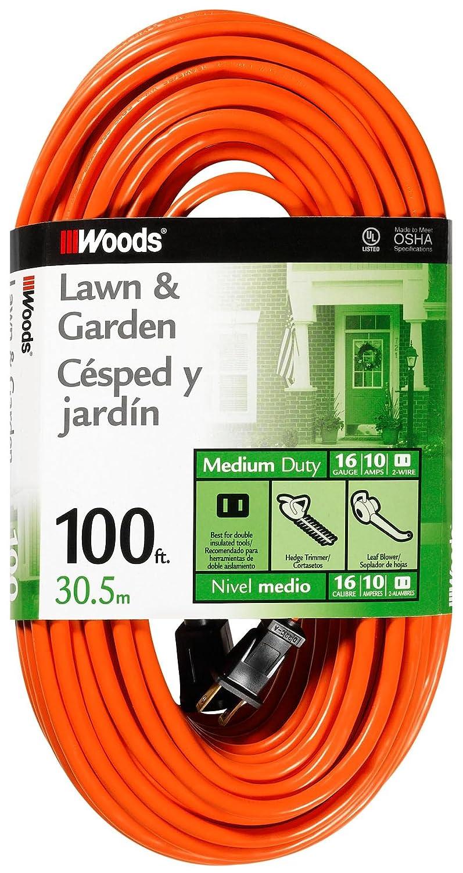 Orange Coleman Cable Woods 0724 16//2 Vinyl SJTW General Purpose Extension Cord 100-Foot