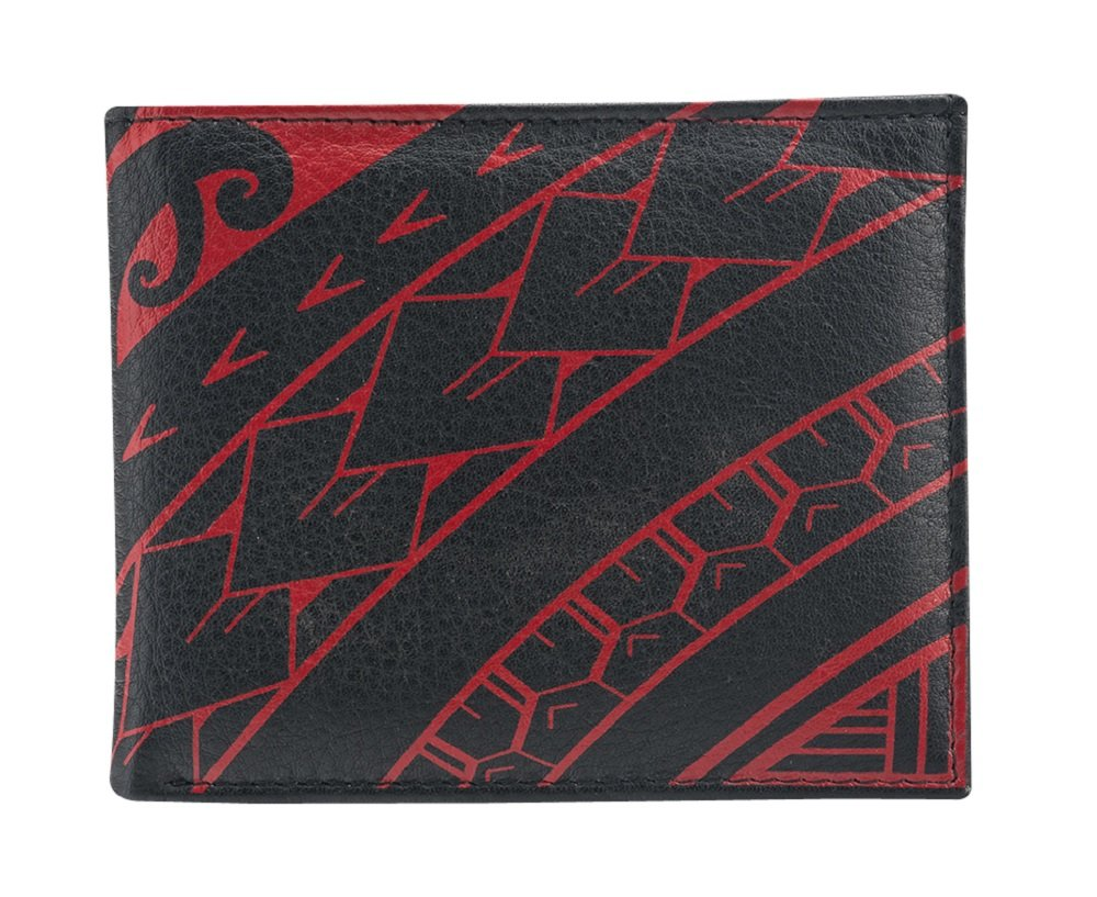 Polynesian Tattoo Bifold Wallet for Men Genuine Leather ''Ihe'' - Black with Red Art by Na Koa Brand (Image #1)