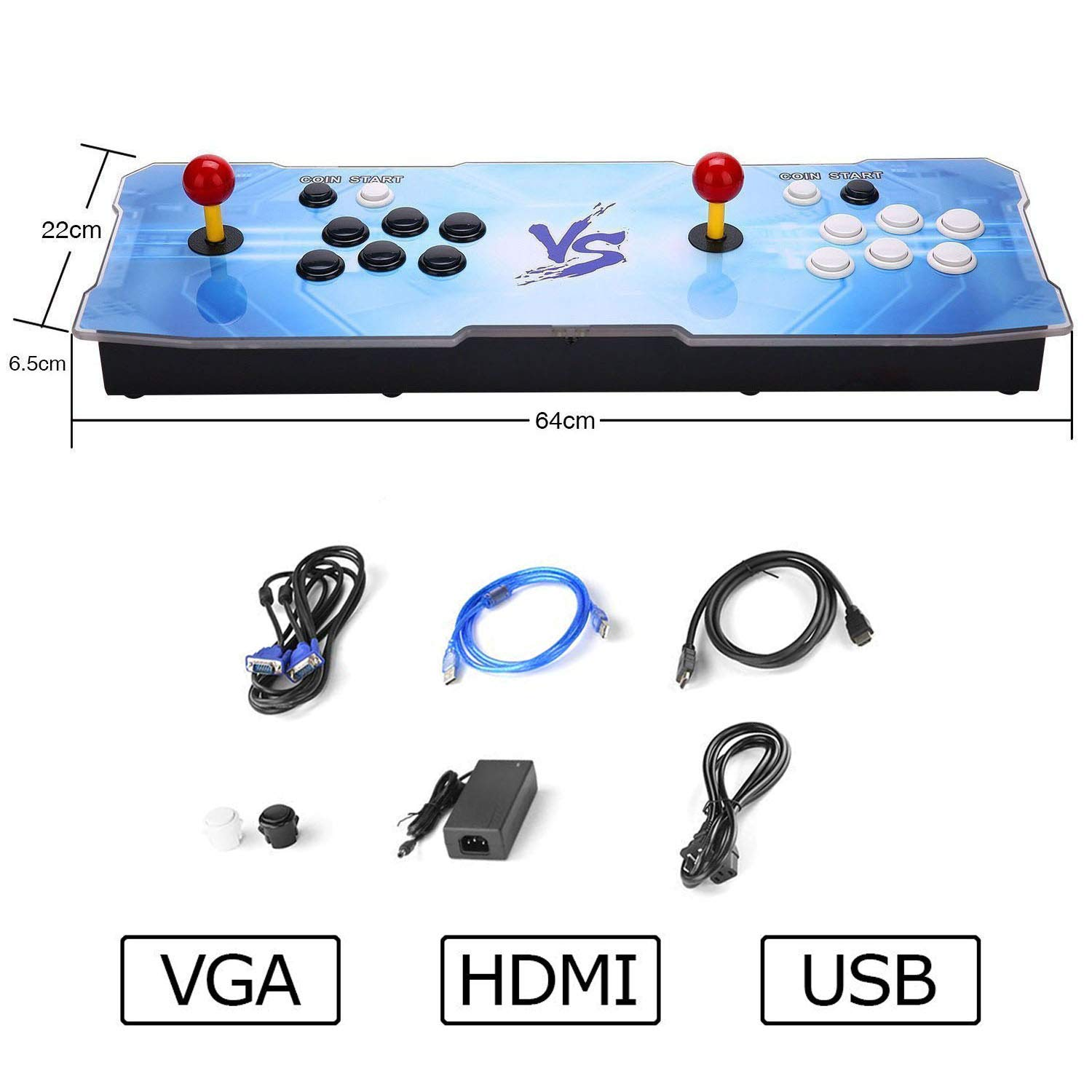 HAAMIIQII 3D Pandora Key 2363 Retro Arcade Game Console | Support 3D Games | Add More Games | Full HD (1920x1080) Video | 2 Player Game Controls | Support 4 Players | HDMI/VGA/USB/AUX Audio Output by HAAMIIQII (Image #6)