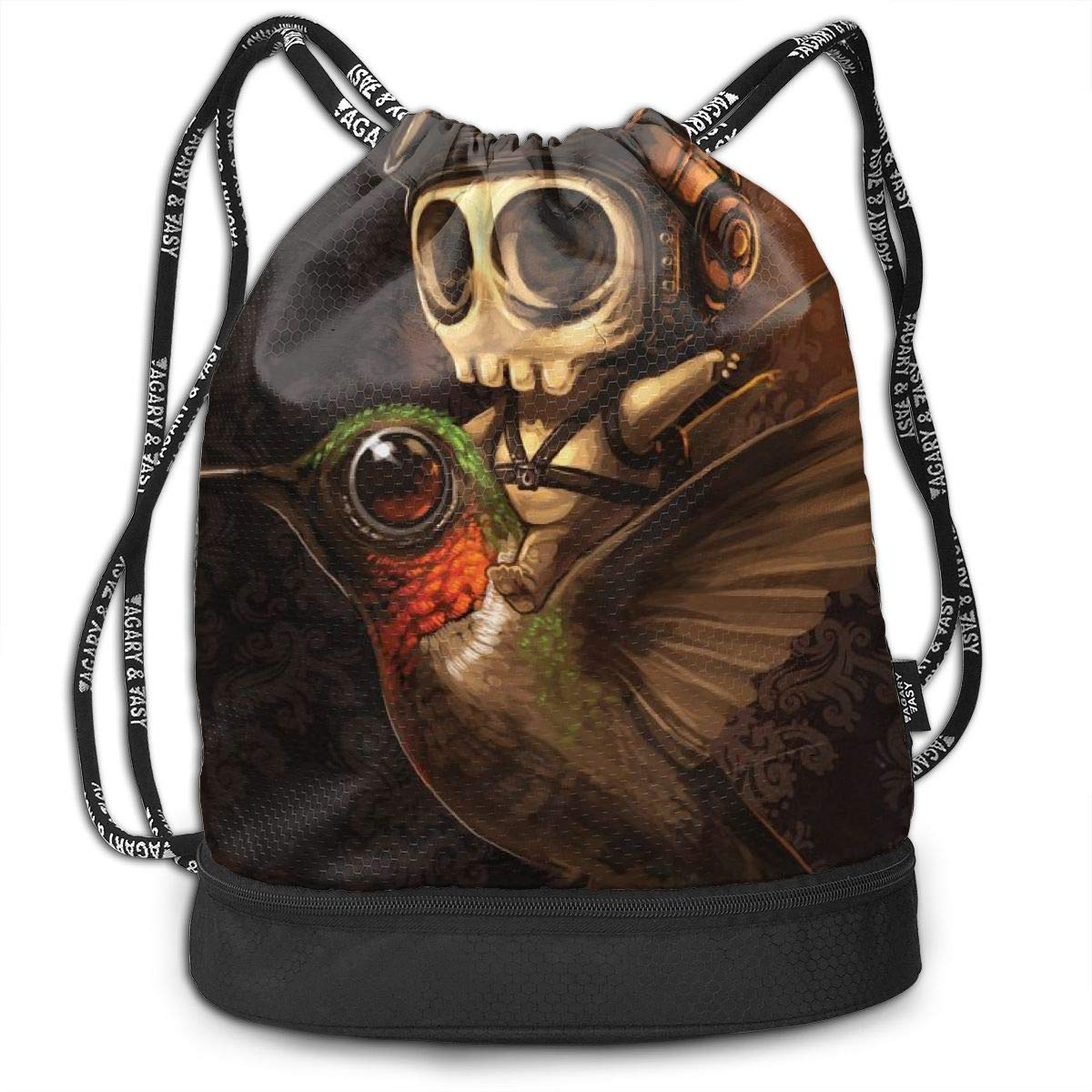 Cute Skeleton Hummingbird Graphics Drawstring Bag For Girls /& Boys Portable Bundle Backpack Gym Yoga Runner Sports Daypack