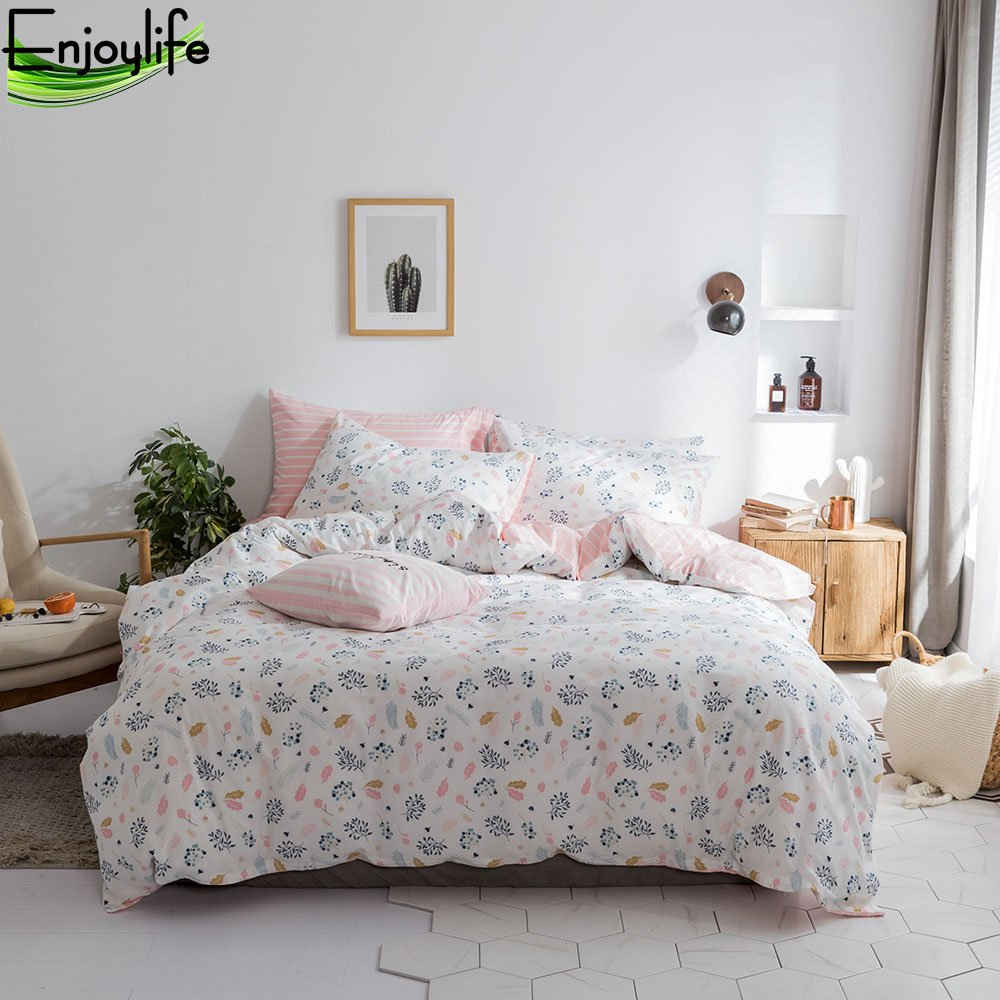 Enjoylife Love&Warm Style 100% Pure Cotton Reversible 3PCS Bedding Set for Spring/Summer Printing Duvet Cover Super Soft Girls Teens Adults Floral Quilt Cover Queen Size