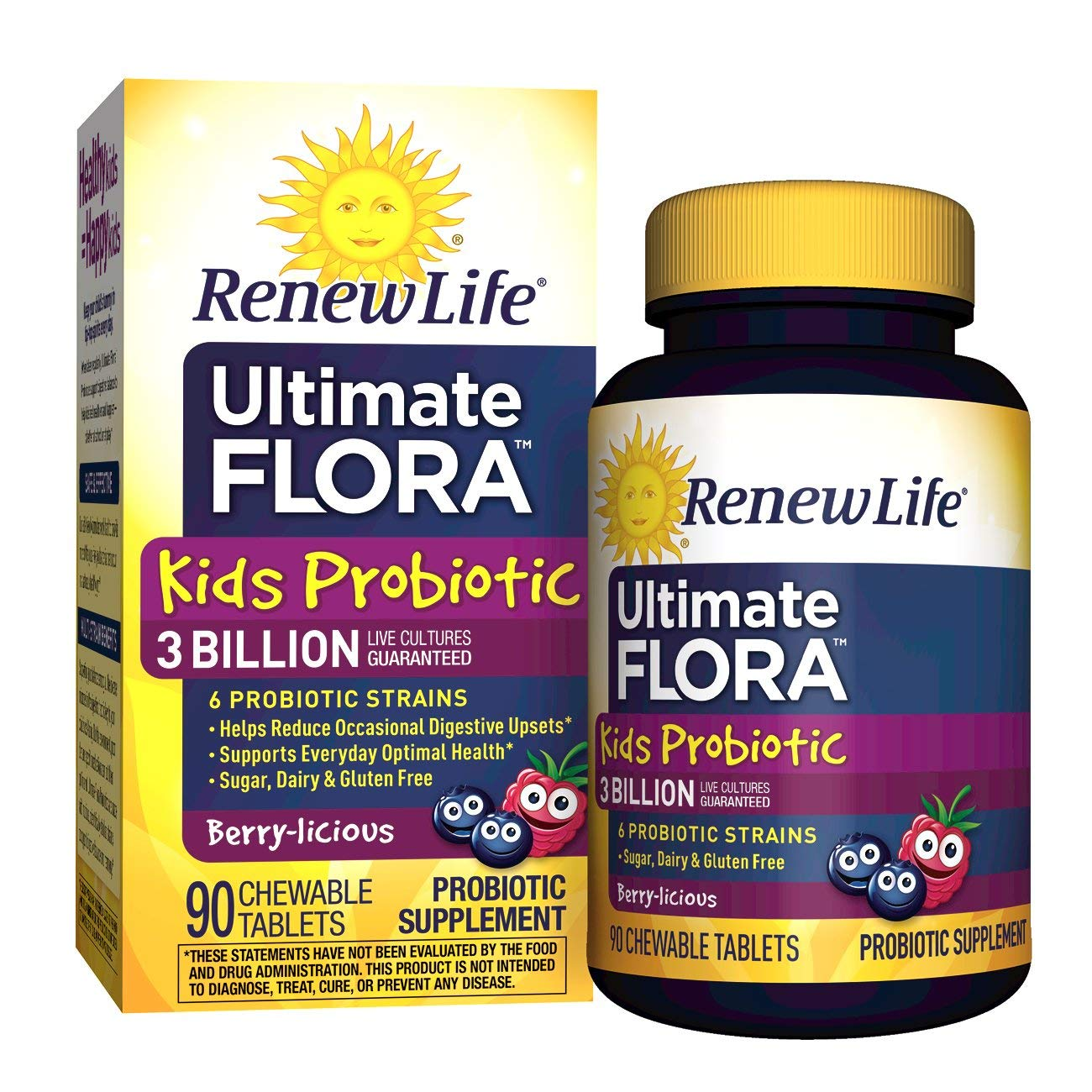 Renew Life Kids Probiotic - Ultimate Flora Kids Probiotic Supplement - Gluten, Dairy & Soy Free - 3 Billion CFU - Berry-licious, 90 Chewable Tablets by Renew Life