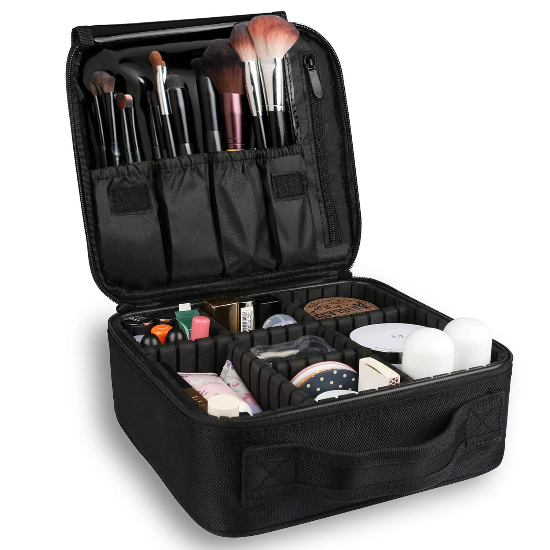 Bvser Travel Makeup Case, Cosmetic Train Case Organizer Portable Artist Storage Makeup Bag with Adjustable Dividers