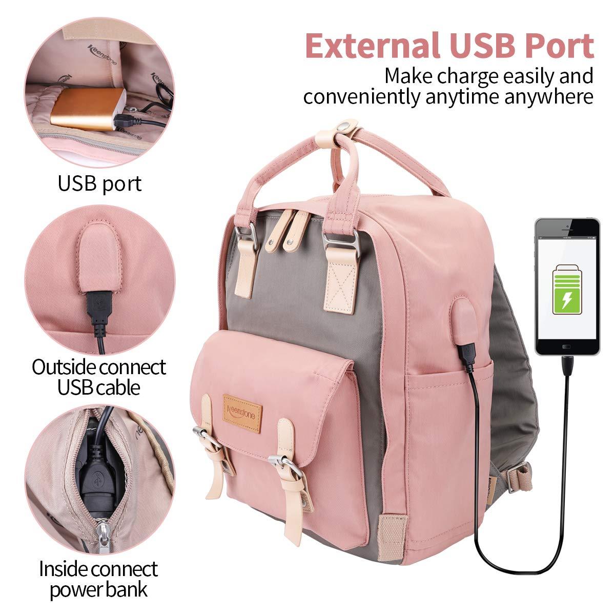 Keenstone Sac à Dos Ordinateur Portable avec Port de Chargeur USB Externe, Sacs Scolaires de Voyage résistant à l\'eau pour Les Femmes, pour Ordinateur Portable de 14 Pouces.(Rose+Gris)