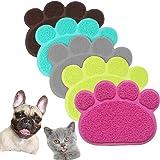 JOYJULY PVC Pet Dog Cat Puppy Kitten Dish Bowl Food Water Feeding Placemat, Non-slip Cat Litter Mat Paw Shape