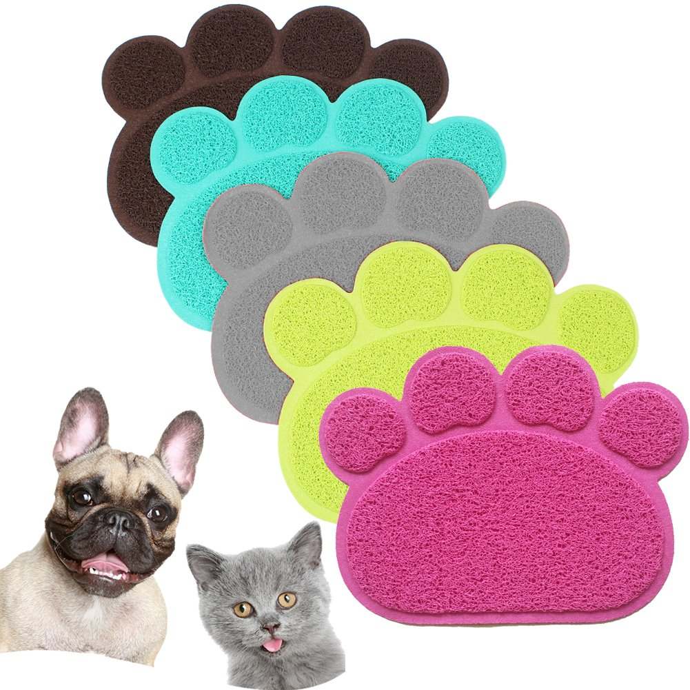 JOYJULY PVC Pet Dog Cat Puppy Kitten Dish Bowl Food Water Feeding Placemat, Non-slip Cat Litter Mat Paw Shape, Grey Large