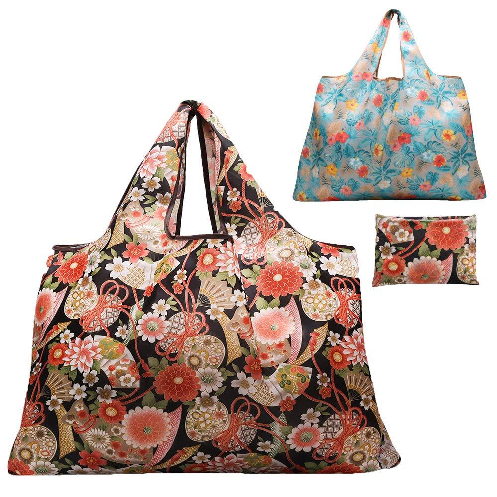 Gophra 再利用可能な食料品バッグ 2パック 大型 洗濯可能 折りたたみ式 エコフレンドリー ナイロン 丈夫 ポケットショッピングトートバッグにフィット 27.5' x 25.5' ブルー B07QZWBMC1 Flowers/Leaves