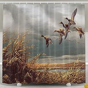 Abaysto Hunting Flying Wild Ducks Shower Curtain,Bath Curtains Bathroom Decor Sets with Hooks Shower Bath Curtain for Bathroom,Polyester Fabric Bathroom Shower Curtain