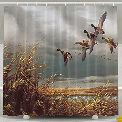 Abaysto Hunting Flying Wild Ducks Shower CurtainBath Curtains Bathroom Decor Sets With Hooks