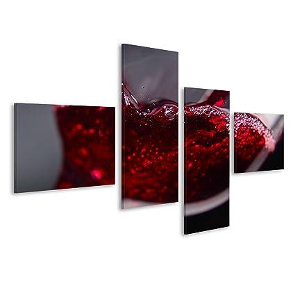 Quadri moderni Vino rosso in bicchiere di vino su sfondo nero Stampa ...