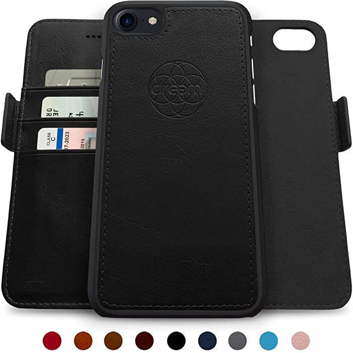 Dreem Fibonacci 2-in-1 Wallet-Case for iPhone 8-Plus & 7-Plus, Magnetic Detachable Unbreakable TPU Slim-Case, Wireless Charge, RFID Protection, 2-Way Stand, Luxury Vegan Leather, Gift-Box - Black