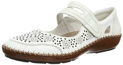 Rieker 44875-80, Ballerines Plates avec Sangle Femme - Blanc - Blanc (White), 37 EU