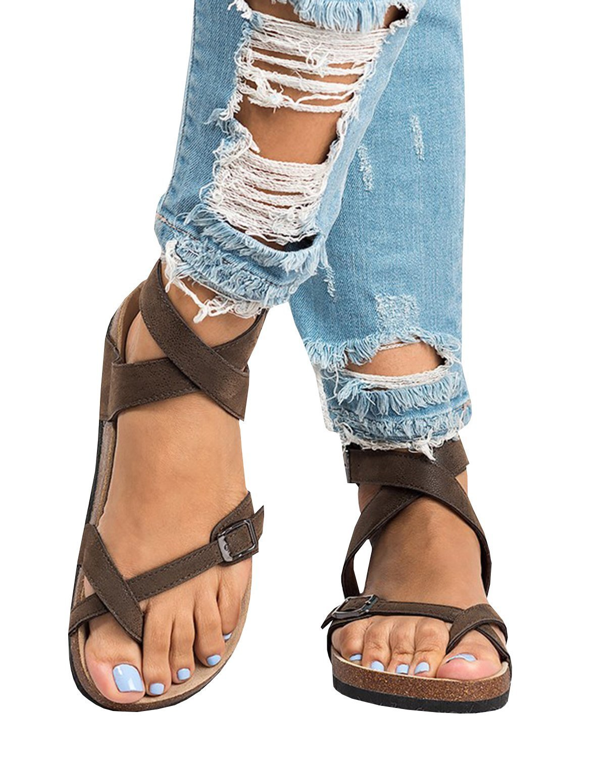 Womens Summer Sandals Flat Ankle Buckle Criss Cross Gladiator Thong Flip Flop Casual Shoes Brown 9.5 US