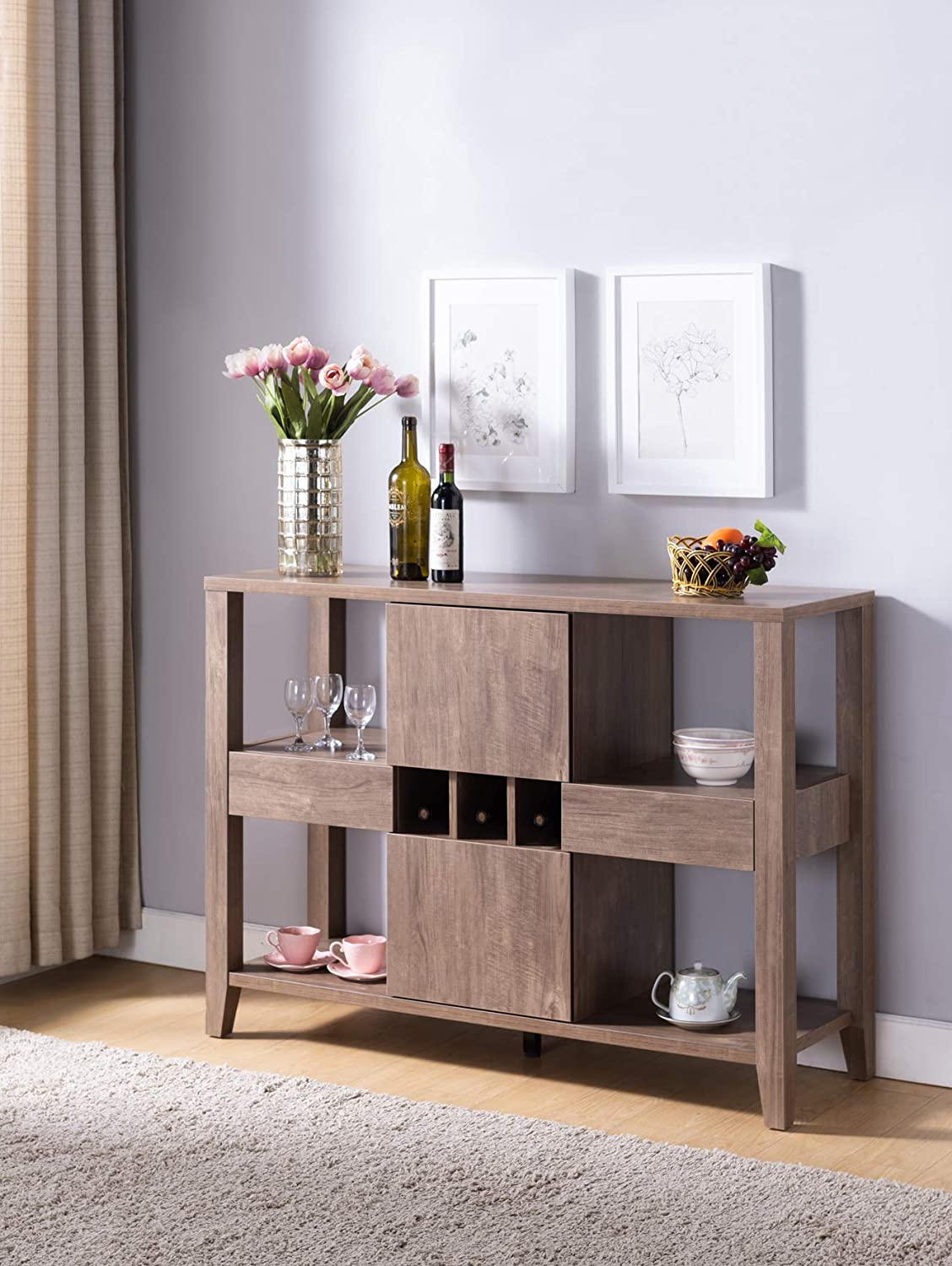 Idusa 182315 Modern Buffet Sideboard For Dining Room Storage Finished In A Hazelnut Color Wine Compartment