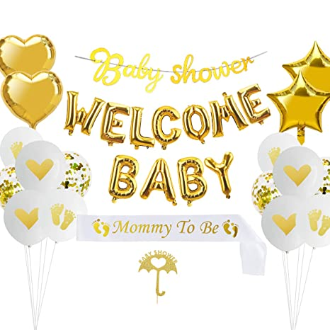 Baby Shower Decorations Supplies Kit 38pcs Neutral Baby Shower Decorations For Boy Or Girl Welcome Baby Balloon Banner Mom Sash Baby Shower Banner Cake Topper Heart Foil Star Foil Balloons Amazon In Health Personal Care