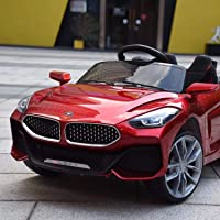 GetBolles Z4 Electric Ride on Car for Kids with Rechargeable 12V Battery, Music, Lights and Swing, Metallic Red