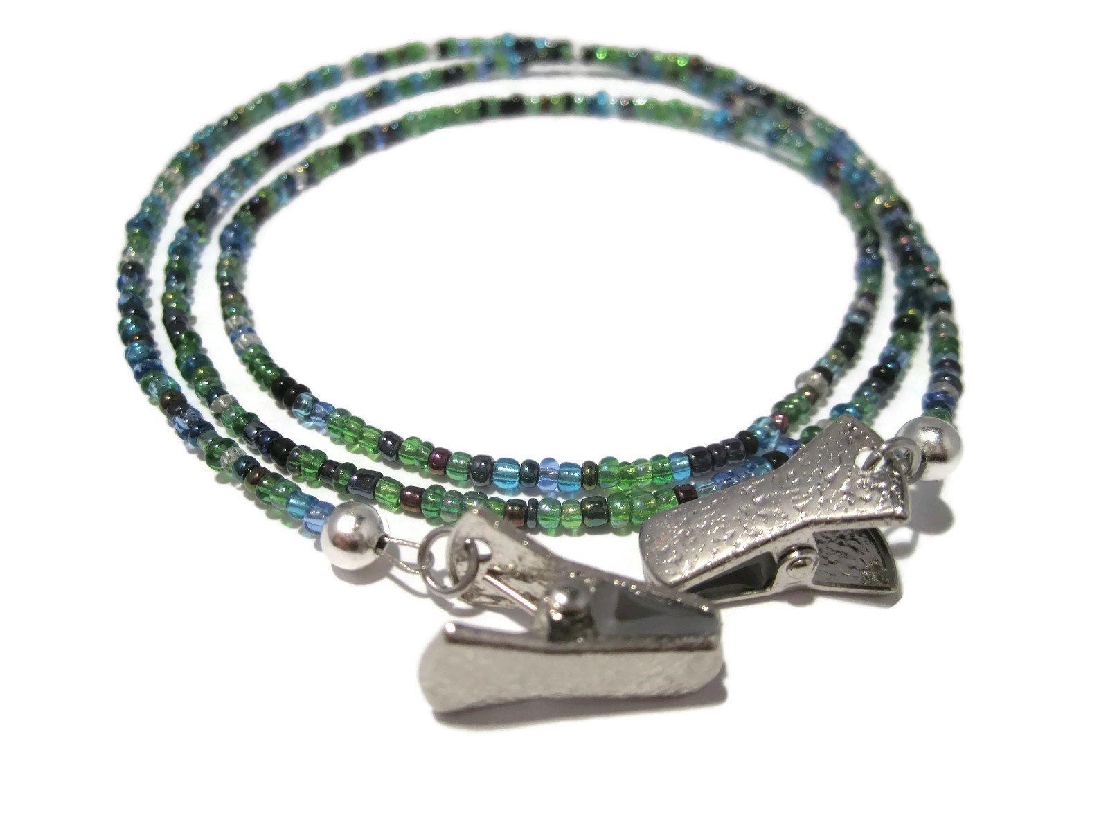 ATLanyards Peacock Clip Eyeglass Holder - Eyeglass Necklace with Silver Clips