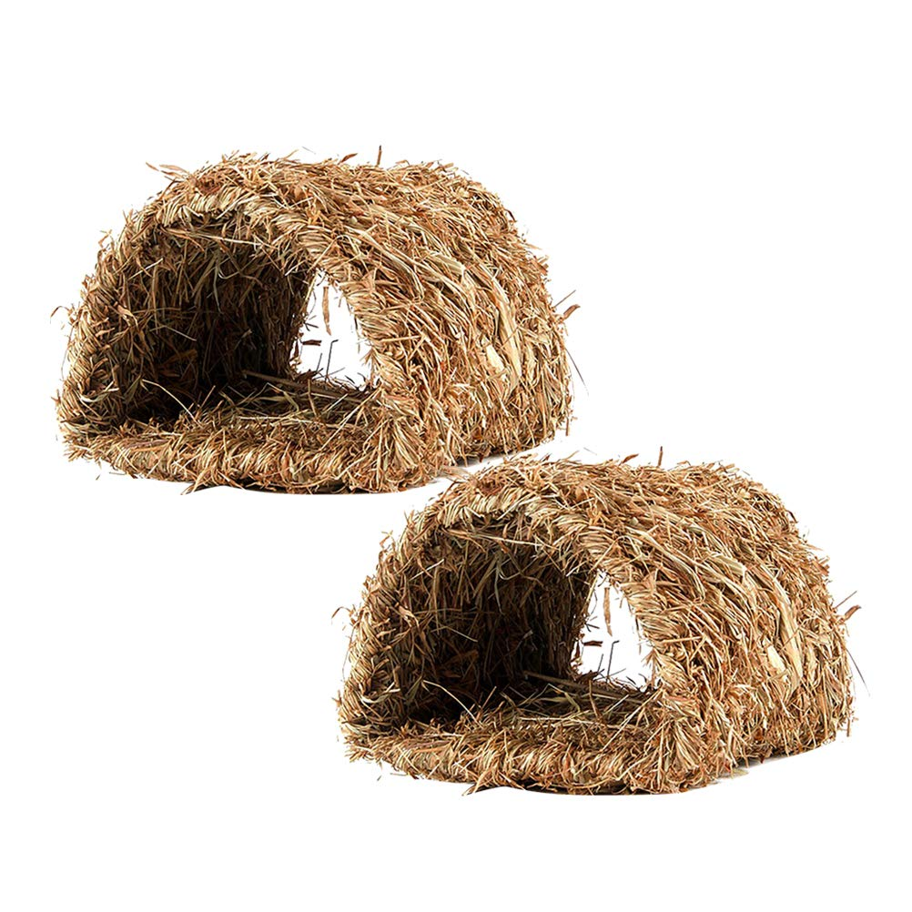 Balacoo 2pcs Woven Grass Hideaway Hut Natural Grass Pet Bed Tunnel Toy Nest Cage for Bunny Rabbit Hamster Gerbil Chinchillas