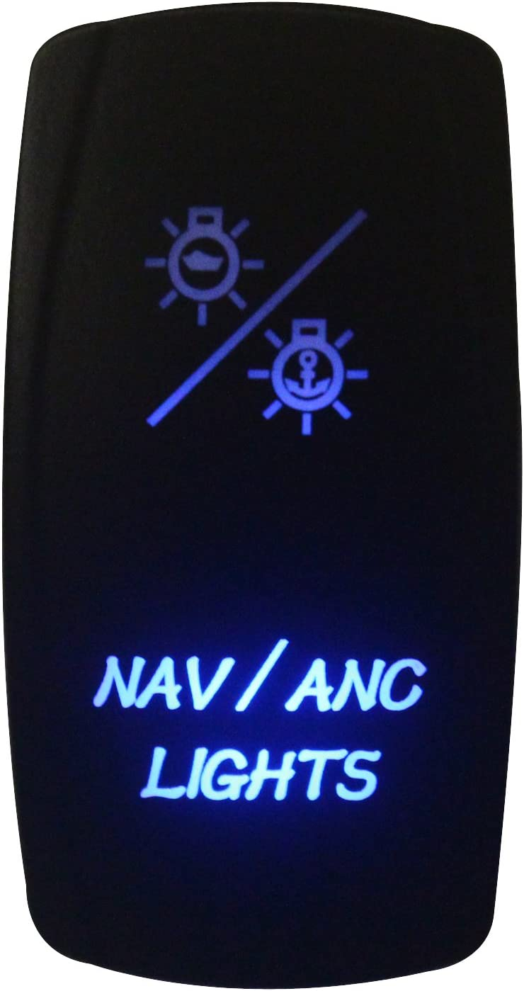 Tbrand NAV//ANC Lights Rocker Switch Laser Engraving Blue Led 7 pins on-Off-on DPDT for ARB Carling NARVA Style Replacement 12v//24v Marine Grade Waterproof IP66