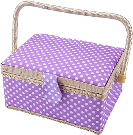 9.6 x 7 x 5.3 Blue Wooden Storage Organizer Sewing Boxes for Girls SAXTX Classic Polka Dot Medium Sewing Basket with Tray Include 31 Pcs Sewing Kit Accessories