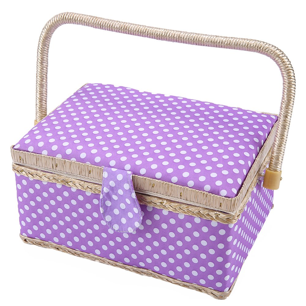 SAXTX Classic Polka Dot Medium Sewing Basket with Tray - Include 31 Pcs Sewing Kit Accessories | Purple Wooden Storage Organizer Sewing Boxes for Girls | 9.6'' x 7'' x 5.3'' by SAXTX