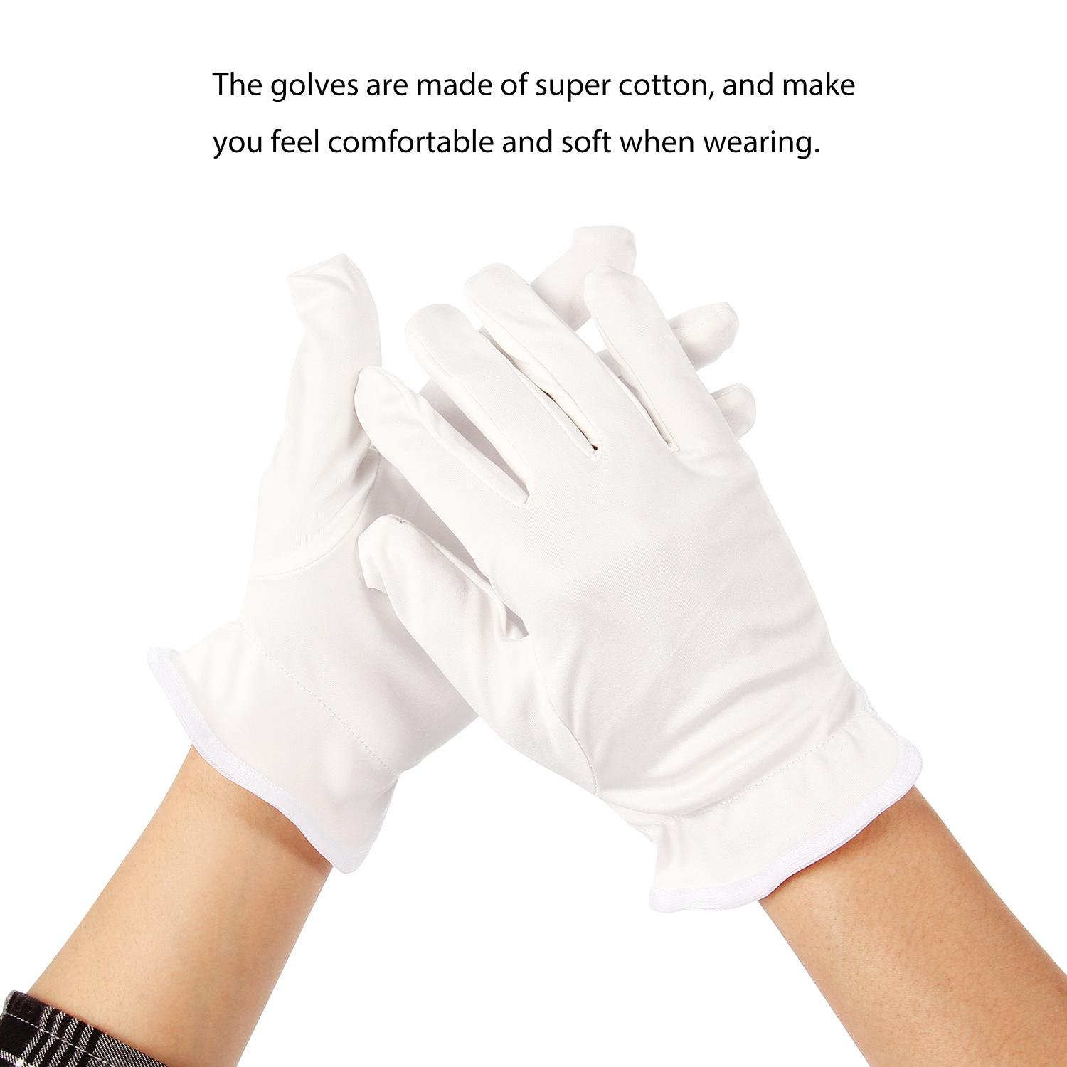 10 Paris White Cotton Gloves, Soft Lightweight Working Gloves for Dry Hands Cosmetic Jewelry Polishing Hand Spa Coins Moisturizing AOLVO