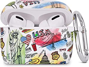 AIRSPO Silicone Cover Compatible AirPods Pro Case Floral Print Protective Case Skin for Apple Airpod Pro Charging Case 2019 LED Visible Shock-Absorbing Soft Slim Silicone Case (White/USA Graffiti)