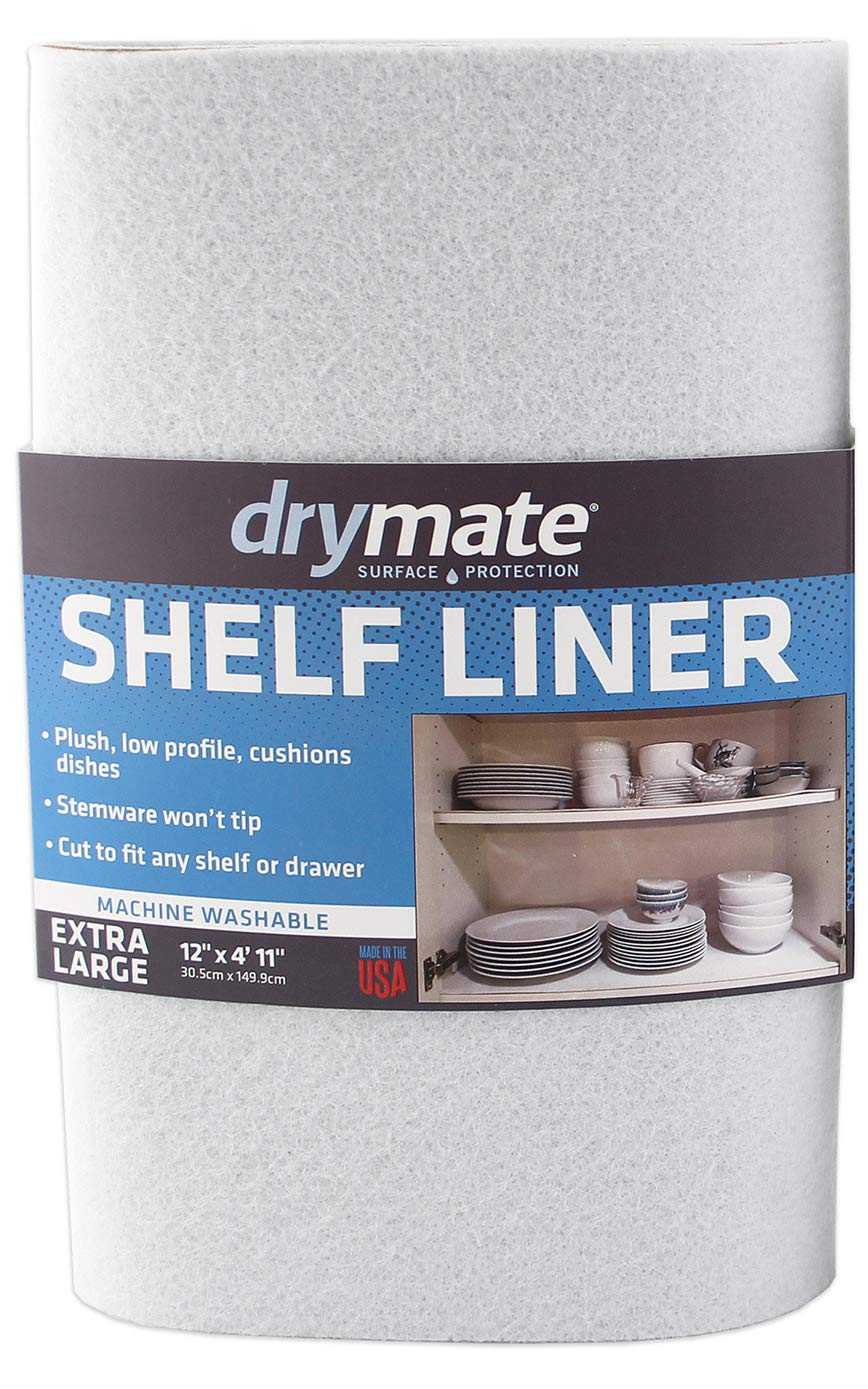 "Drymate Premium Shelf Liner and Drawer Liner (Set of 2), (12"" x 59""), Non Adhesive, Durable, Slip Resistant – Absorbent/Waterproof – For Drawers, Shelves and Cabinets, Made in the USA"