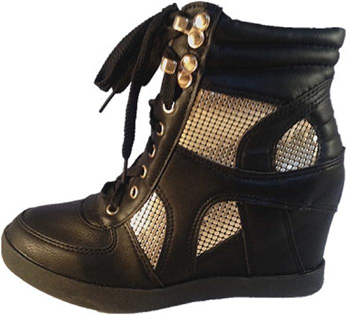 fashionfolie Baskets compensées Montante Talon Bottine Chaussures Femme Fille Lacet Noir 33 4
