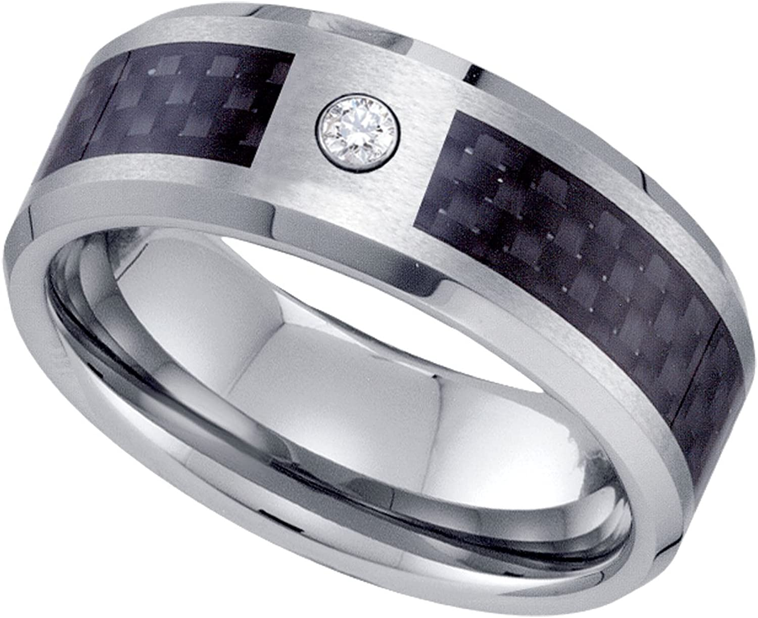 Jewels By Lux Tungsten Carbon Fiber Inlay Center CZ Cubic Zirconia Comfort-fit 8mm Wedding Band Ring