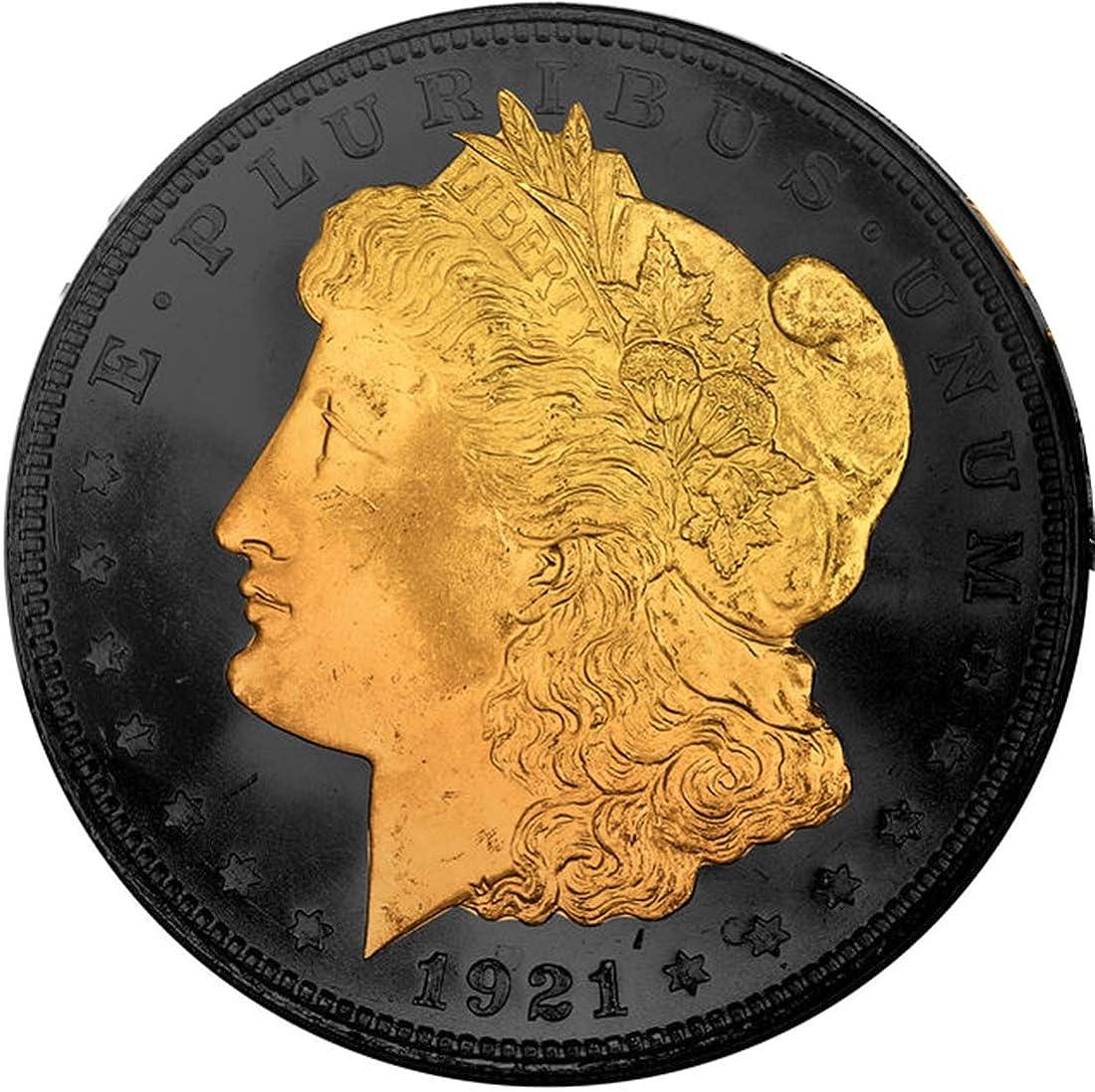 Muñeca de Oro de 24 Quilates con Efecto de Alivio y Reverso de rutenio Negro 1921 US Morgan. 900 Plata, no una reproducción: Amazon.es: Joyería