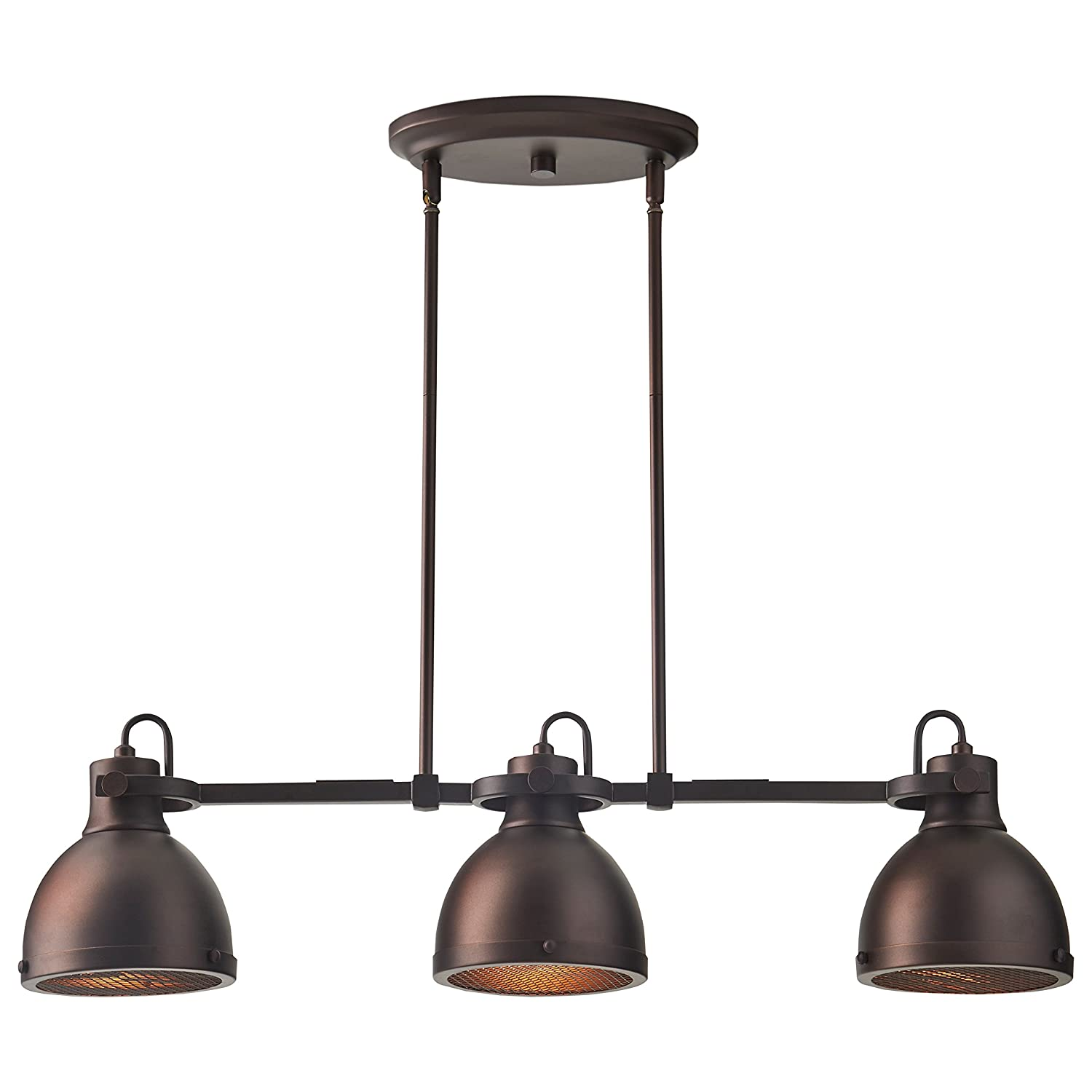 Stone Beam Emmons Triple Ceiling Mount Pendant Lighting Chandelier With Light Bulbs – 31.5 x 6.25 Inches, 8.25 – 56.25 Inch Cord, Oil-Rubbed Bronze