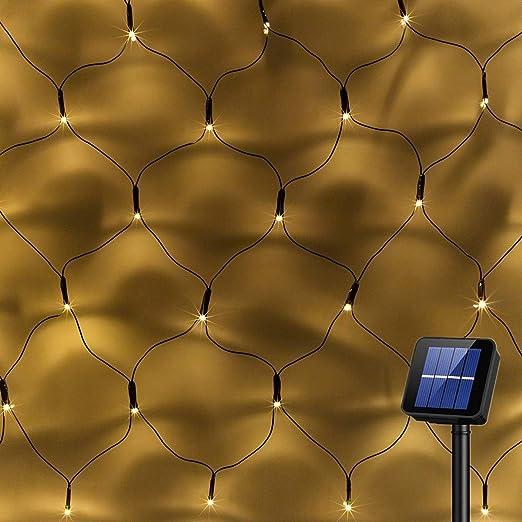 Amazon.com : Solar Powered 200Led Net Light Mesh Fairy Light String Outdoor Waterproof, 8 Light Modes, Auto On/Off, 9.8ftx6.6ft Outside Garden Twinkle Light, Backyard Patio Balcony Wall Roof Curtain Decor-Warm White : Garden & Outdoor
