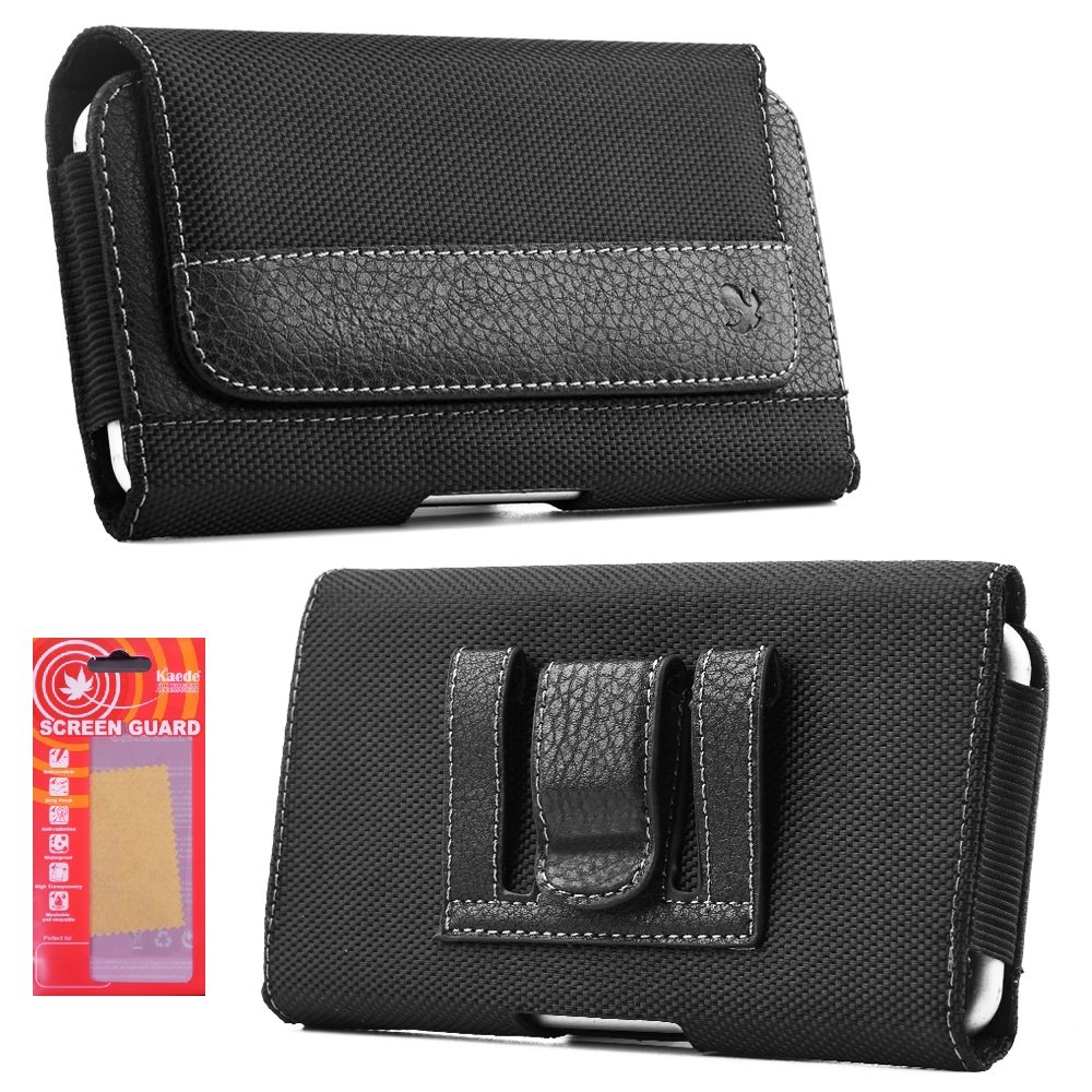 buy online 3ba61 52f05 iPhone 7 Belt Case, Premium Black Nylon Smartphone Holster Carrying Pouch  with Clip and Loops Belt...