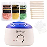 Hair Removal Waxing Kit, 500 ml Electric Wax Warmer + 3 Packs of Hair Removal Hard Wax Beans + 10 Applicator Sticks + 10 Disposable Gloves, Brazilian Granules Low Temperature Natural Hot Film Depilatory No Strips