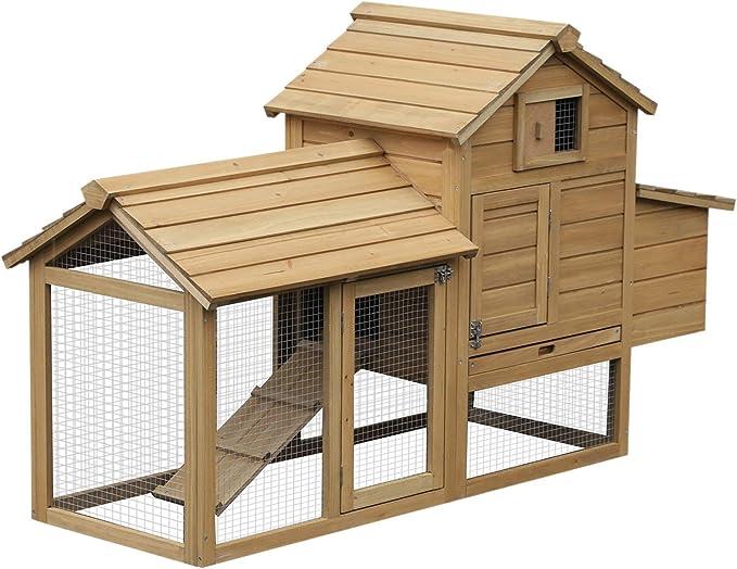 Pawhut Gallinero Compacto para Exterior para 2-3 Gallinas con Zona Exterior Caseta con Ventana Rampa y Bandeja Extraíble 150.5x54x87 cm Madera de Abeto