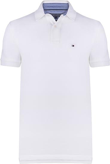 Tommy Hilfiger – Camiseta estilo Polo para hombre, de algodón de doble capa, en embalaje original blanco Weis: Amazon.es: Ropa y accesorios