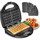 Godmorn Waffle Maker 4IN1, Sandwich Toaster, Panini Press Grill, Donut Doughnut Maker Iron Machine, Deep Non-Stick Coating Plates, 750W, Automatic Temperature Control