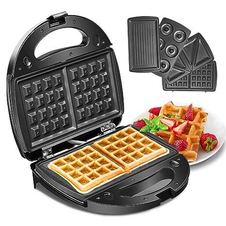 Waffeleisen, Godmorn 4IN1 Waffelautomat, Waffel Maker, Sandwich-Toaster, Panini-Maschine, Donut-Herstellungsmaschine, Antihaf