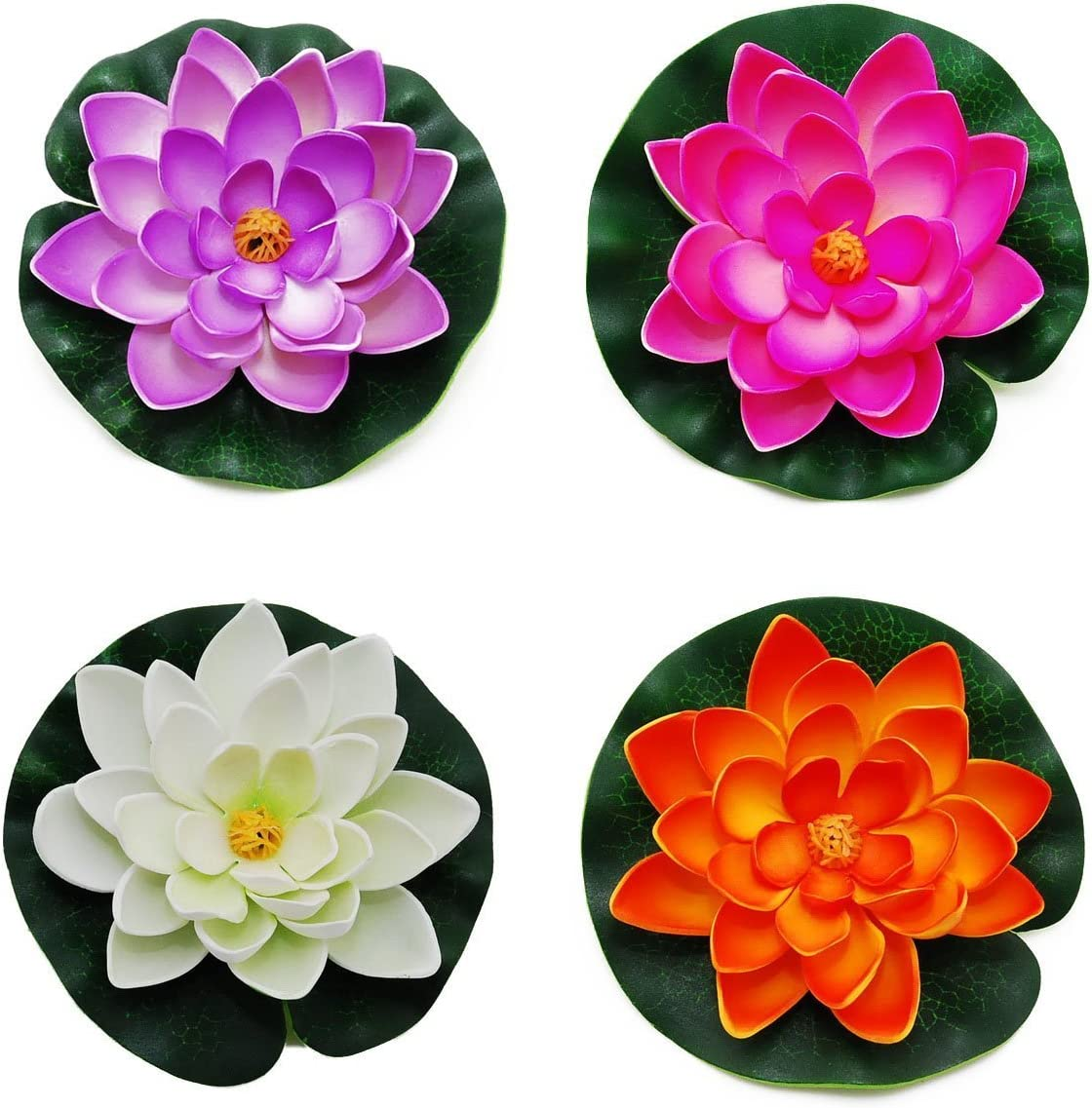 CNZ Small Floating Pond Decor Water Lily/Lotus Foam Flower, Set of 4