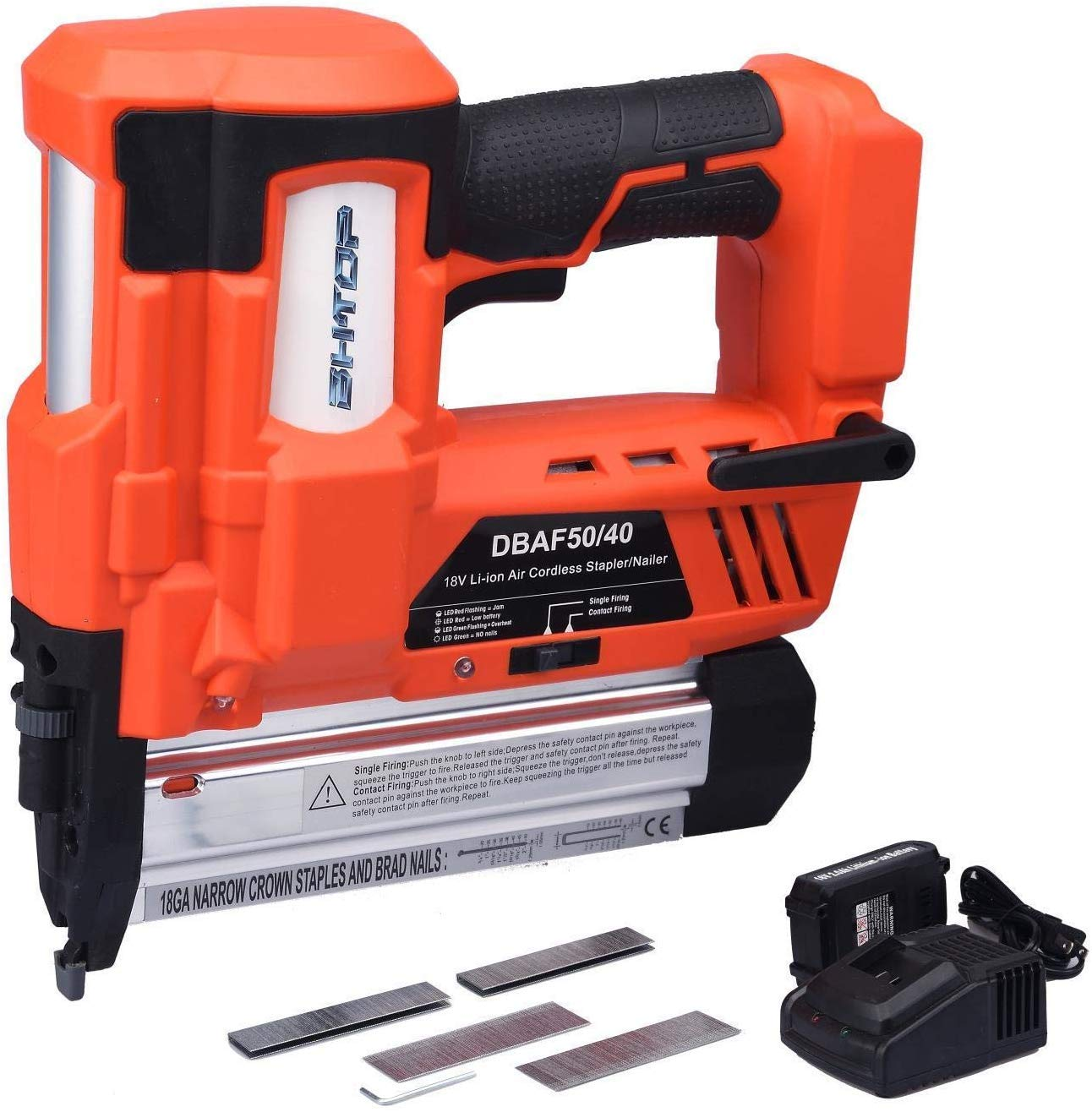 BHTOP Cordless Nailer Stapler- 2 in 1 18Ga Heavy Tool With 18Volt 2Ah Lithium-ion Rechargeable Battery Charger and Carrying Case 1 Battery