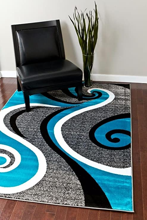 0327 Turquoise White Gray Black 5 2x7 2 Area Rug Abstract Carpet