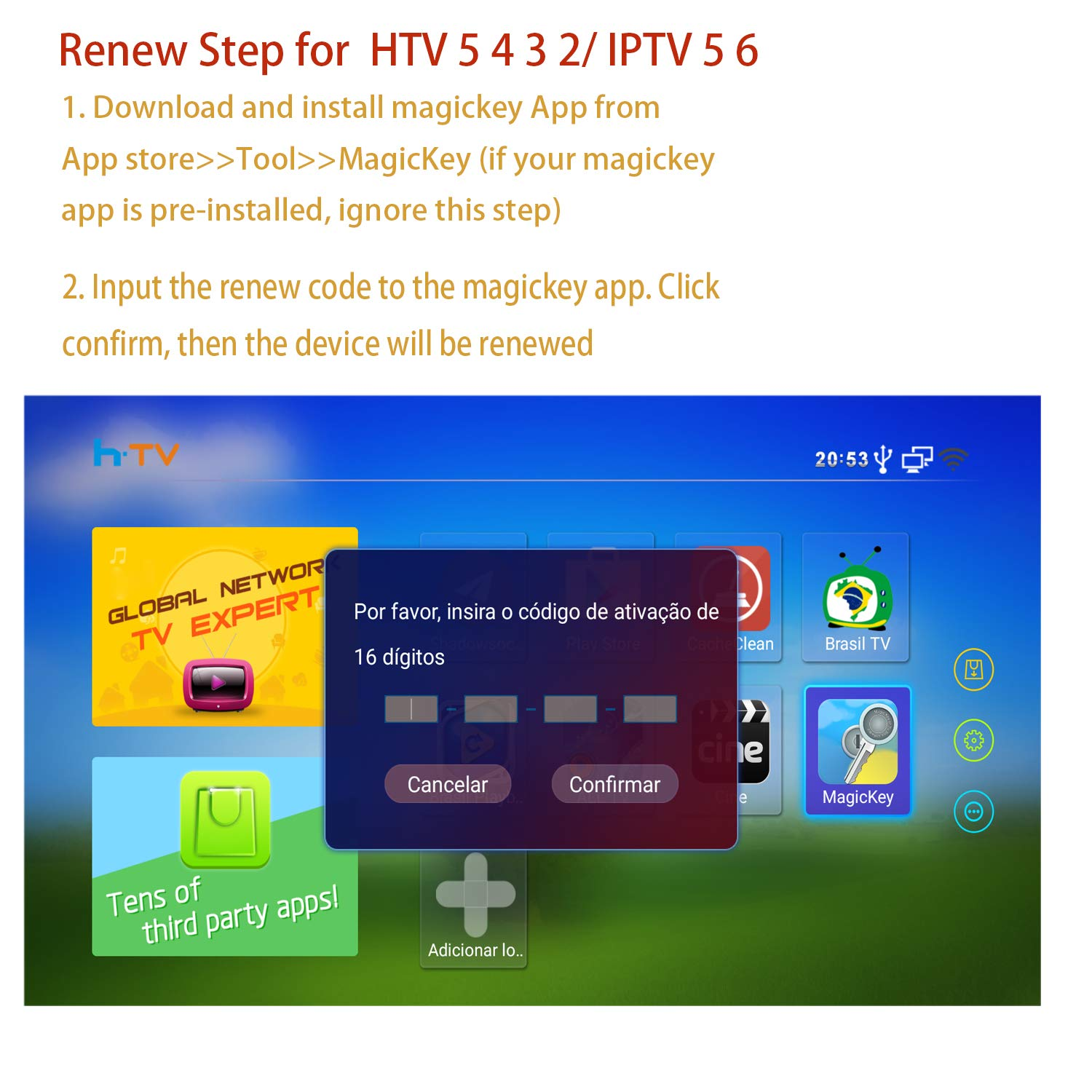 Renew Code for HTV 5 6 4 3 2 1 IPTV Brazil Box IPTV 6 5 Plus + Brazilian Subscription with Free WiFi Keyboard by BestTV (Image #2)