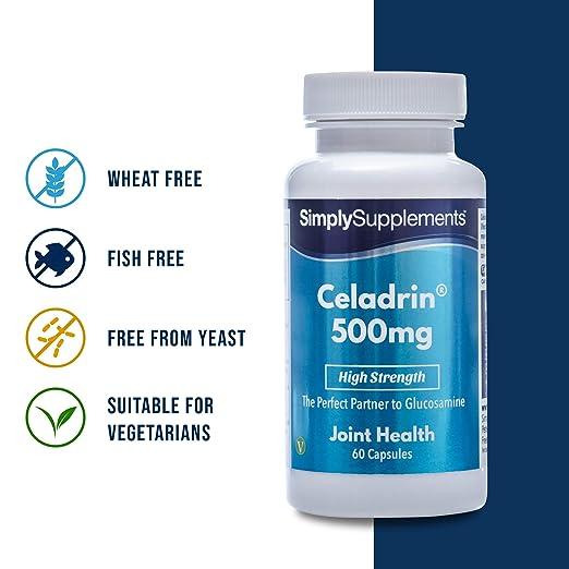Celadrin 500mg - 60 Cápsulas - Alivio rápido y efectivo del dolor en articulaciones - SimplySupplements: Amazon.es: Salud y cuidado personal