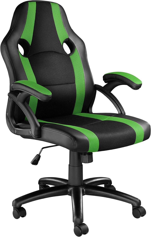 TecTake 800781 Silla de Oficina, Asiento Gaming, PC Escritorio Ordenador, Ergonómica, Ruedas Dobles, Ajustable en Altura, Despacho Estudio (Negro-Verde | No. 403478)
